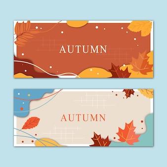 Een set herfst horizontale banners. vector illustratie.