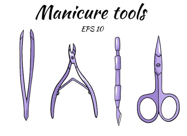 Een set hulpmiddelen voor manicure.