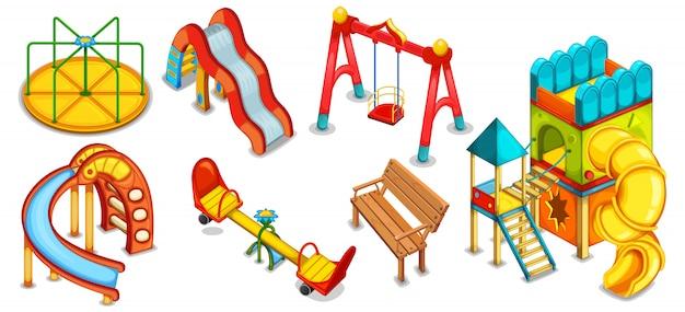 Een set illustraties van de speeltuin. apparatuur om te spelen. speelhuis. glijbanen, schommels en rotonde.