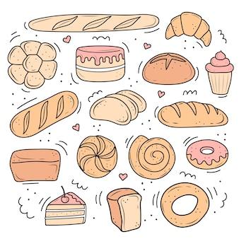 Een set illustraties van gebakken gebak