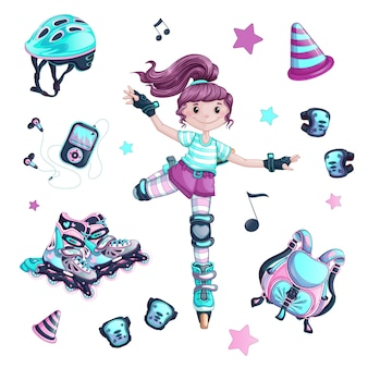 Een set items voor een meisje die zich bezighoudt met een slalom met rollen.