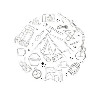 Een set items voor kamperen en reizen