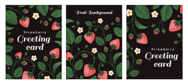 Een set kaarten met aardbeienstelen, bessen en kleine bloemen