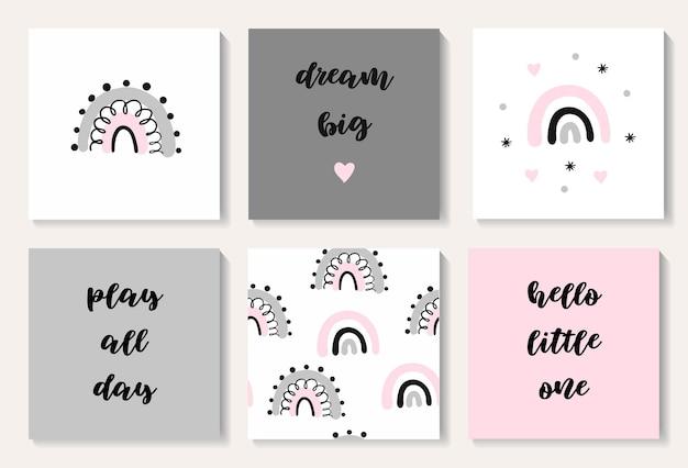 Een set kaarten met een schattige strikjes babyshower