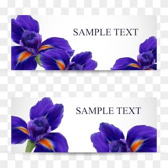 Een set kaarten met realistische irisbloemen