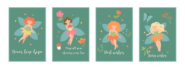 Een set kaarten met schattige feeën