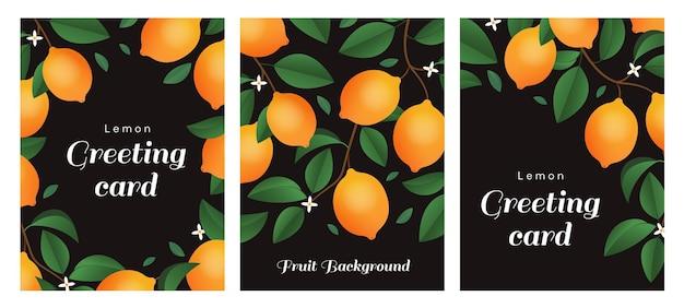 Een set kaarten met takken van citroenblaadjes en kleine bloemen