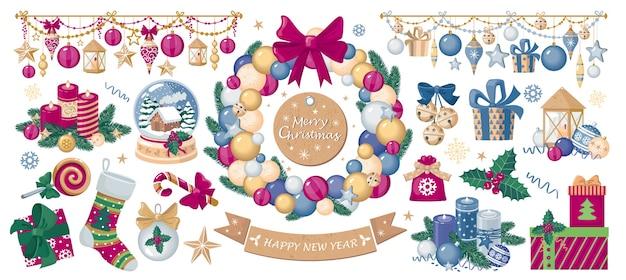 Een set kerst- en nieuwjaarsillustraties