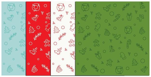 Een set kerstpatronen in verschillende kleuren. vector illustratie.