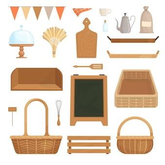 Een set keukenaccessoires voor het inrichten van een keuken