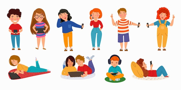 Een set kinderen met gadgets kinderen met telefoons tablets laptops draadloze technologie