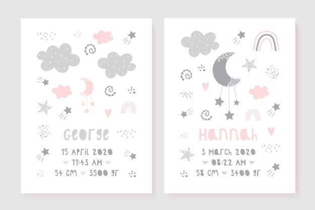 Een set kinderposters, lengte, gewicht, geboortedatum. illustratie pasgeboren metrisch voor kinderkamer.