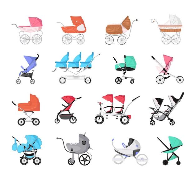 Een set kinderwagens voor baby's.