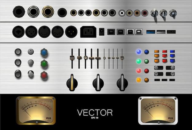 Een set knoppen, connectoren en andere accessoires voor muziek. .