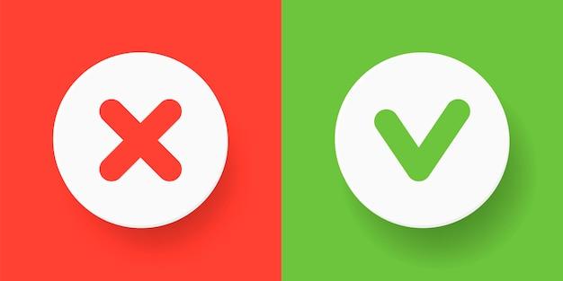 Een set knoppen voor het web - groen vinkje en rood kruis. platte illustraties. platte ronde vorm - bevestigen, fouten maken, goedkeuren, annuleren op rode en groene achtergrond.