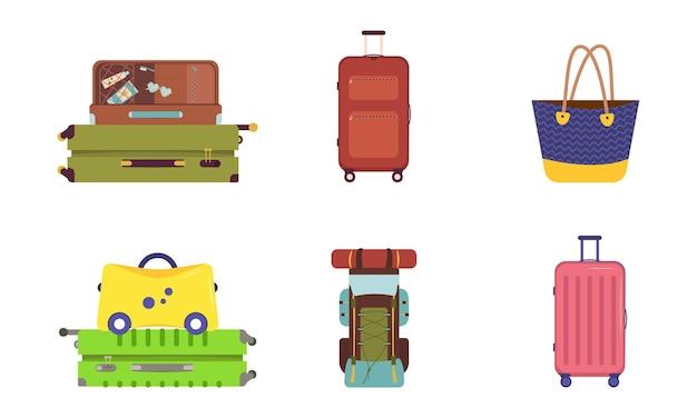 Een set koffers voor vakantie en reizen. zomergoederen voor toeristen. bagagetas en rugzak.