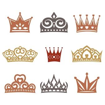 Een set kronen met verschillende ornamenten, vectorillustratie.