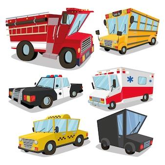 Een set machines. ambulance, brandweerwagen, vrachtwagen, taxi, schoolbus, politieauto