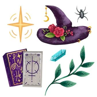 Een set magische illustraties in voortplantende heksen, een magische hoed met rozen, tarotkaarten, een pailletten, een kristal, een groene tak met bladeren en een spin
