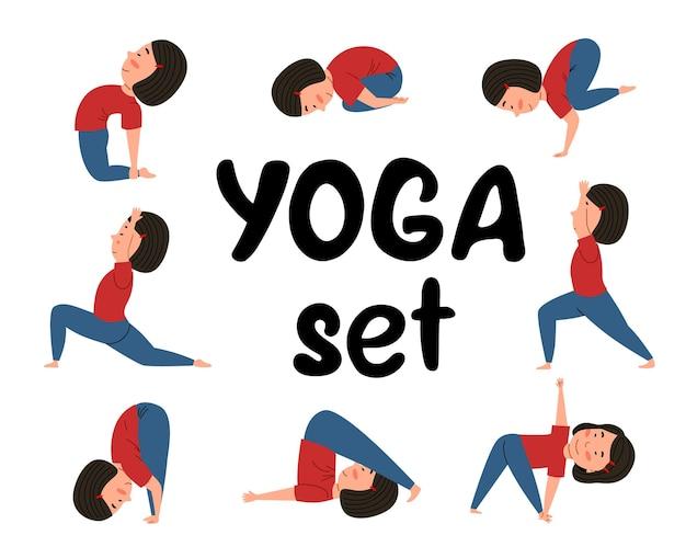 Een set met yogahoudingen. het kind doet aan sport.