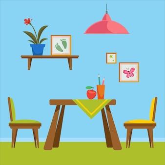 Een set meubelen voor de peuterkamer ruimte om te tekenen interieurspullen zoals een tafel