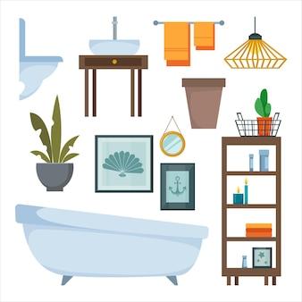 Een set meubels en items voor het decoreren van het interieur van de badkamer en toilet toilet ligbad