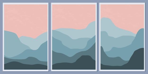 Een set minimalistische monochrome landschappen. abstracte bergen voor een stijlvolle achtergrond