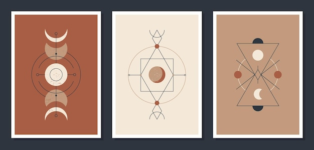Een set minimalistische posters met hemellichamen. posters in een moderne boho-stijl. de maan en de sterren. mystieke illustratiekaarten.