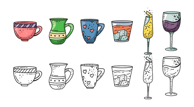 Een set mokken in doodle stijl. koffiekop, theemok, wijnglas, champagneglas, whisky en cognacglas.