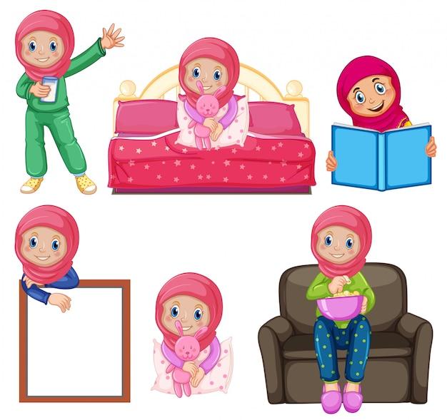 Een set moslimmeisjes en -activiteiten