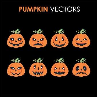 Een set of enge halloween-pompoencartoons met verschillende horrorgezichten en karakterontwerpen