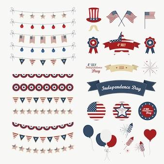 Een set ontwerpelementen voor independence day. 4 juli objecten, element. geïsoleerd op wit. vector pictogrammen.