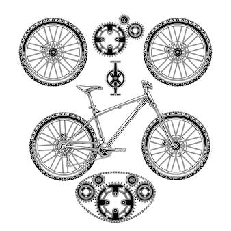 Een set ornamenten voor fietsen en onderdelen