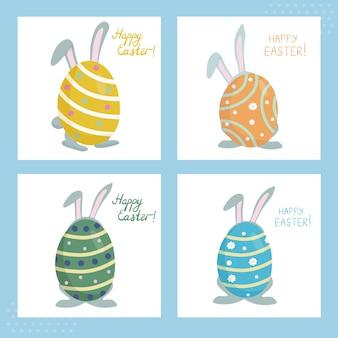 Een set paaskaarten met een konijn met lange oren verstopt achter een gekleurd beschilderd ei