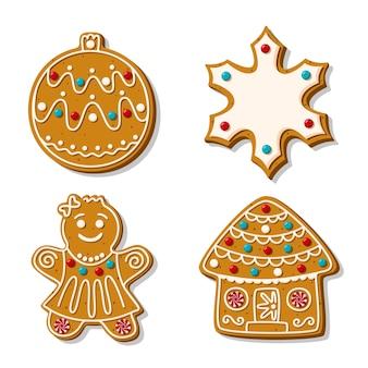 Een set peperkoek kerstkoekjes. van zelfgemaakt bakken. sneeuwvlok, kerstboomstuk speelgoed peperkoekman en huis in suikerglans op witte achtergrond wordt geïsoleerd die. cartoon stijl.
