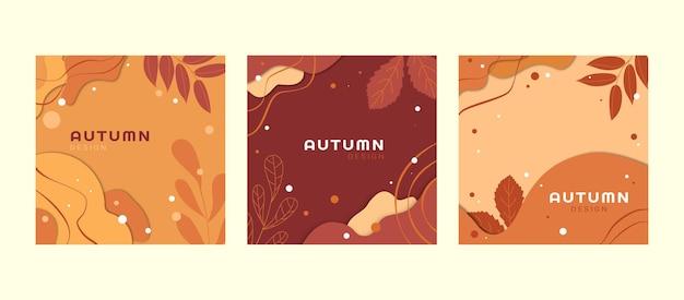 Een set platte herfst ansichtkaarten met gebladerte in warme kleuren. vector illustratie.