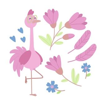 Een set platte illustraties met flamingo's, bloemen en harten