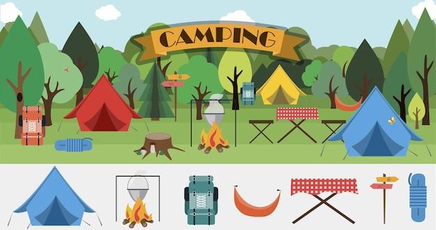 Een set platte pictogrammen voor kampeeruitrusting voor wandelen, bergbeklimmen en kamperen een set pictogrammen a