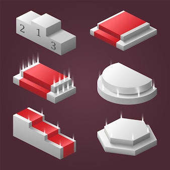 Een set podia in perspectief van verschillende vormen en typen.
