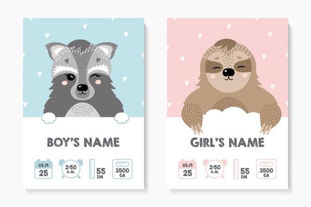 Een set posters, lengte, gewicht, geboortedatum. wasbeer, luiaard