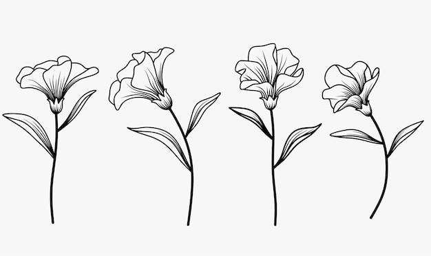 Een set prachtige bloemen