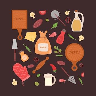 Een set producten en hulpmiddelen voor het maken van pizza. zelf pizza koken. illustratie.