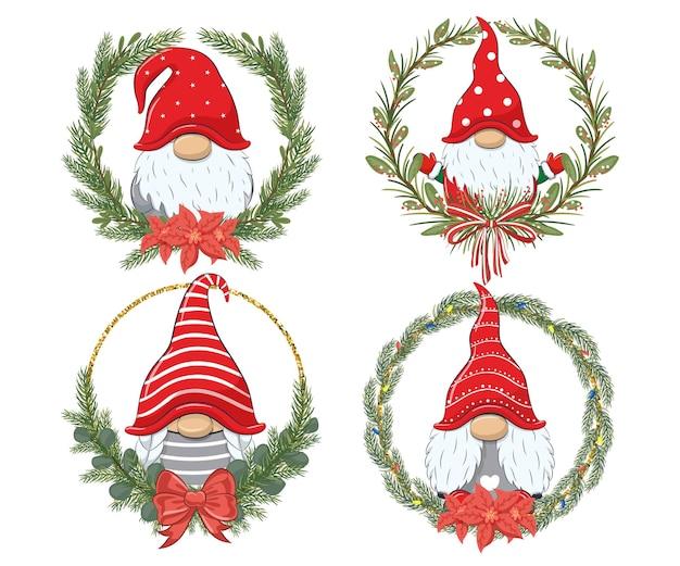 Een set schattige dwergen voor het nieuwe jaar en voor kerstmis. vectorillustratie van een tekenfilm.