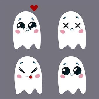 Een set schattige geesten met verschillende emoties vectorillustratie van een halloween-personage