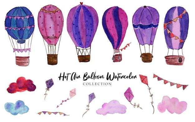 Een set schattige heteluchtballonaquarel met prachtige wolk- en vliegerswaterverf
