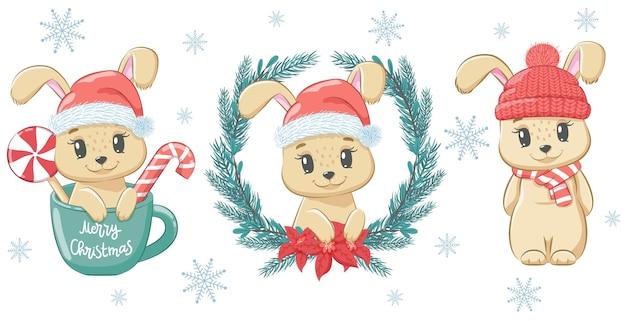 Een set schattige konijnen voor het nieuwe jaar en voor kerstmis. vectorillustratie van een tekenfilm.