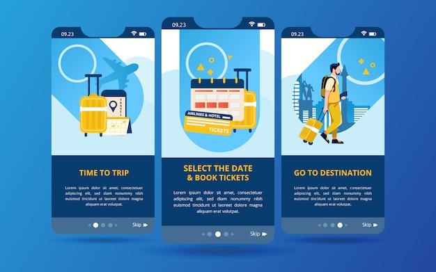 Een set schermdisplays met illustraties van voorbereiding voordat u op reis gaat