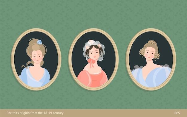 Een set schilderijen in lijsten. meisjes in jurken uit de 18-19e eeuw. leuke krullen op het hoofd. edel portret. op de achtergrond van vintage behang. kleurrijke illustratie in flat
