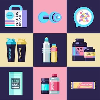 Een set sportvoeding en accessoires voor sport.