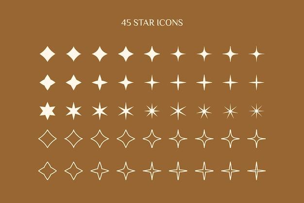 Een set sterpictogrammen in een minimalistische, eenvoudige en lineaire stijl. vector sparkle sign, twinkle, shiny, glowing lichteffect.